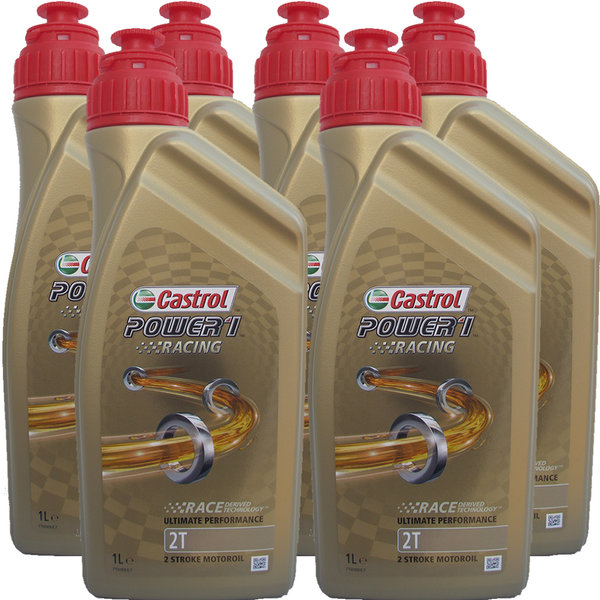 Motorradöl Castrol 2T Power1 Racing 6X1L