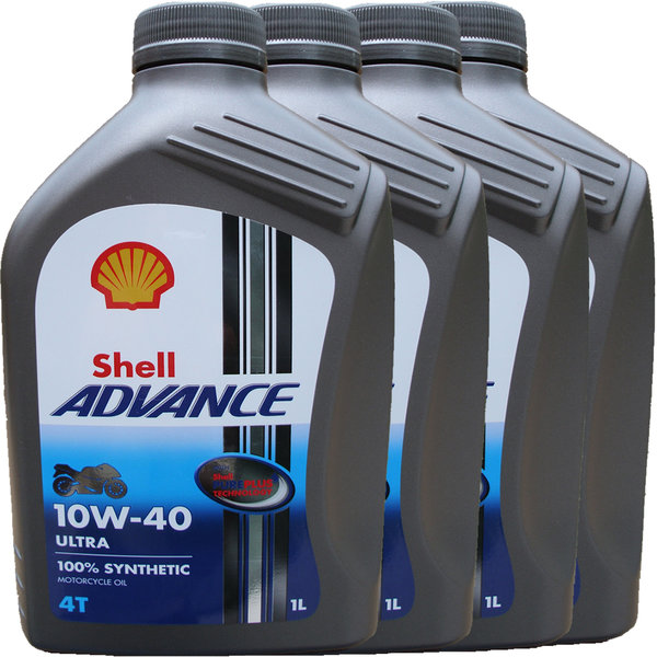 Motorradöl Shell 10W-40 ADVANCE 4T Ultra (4 X 1L)
