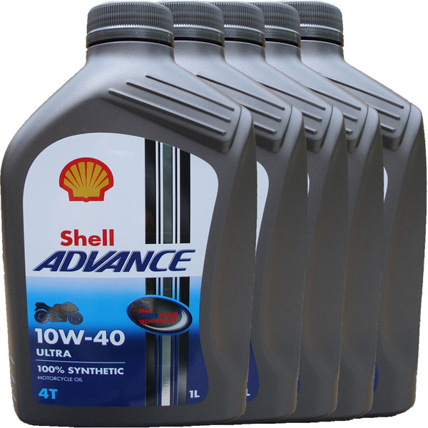 Motorradöl Shell 10W-40 ADVANCE 4T Ultra (5 X 1L)